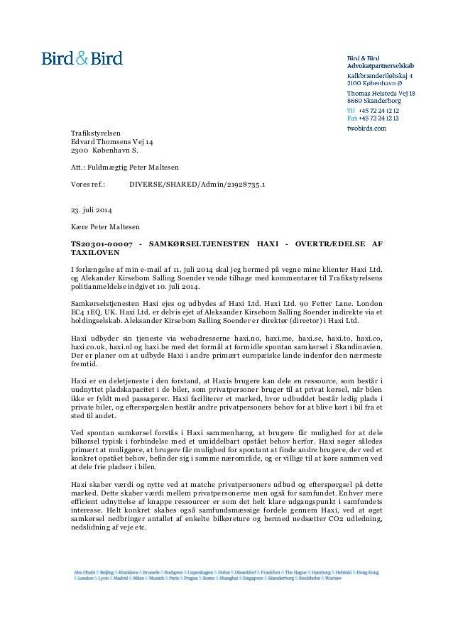 Trafikstyrelsen Edvard Thomsens Vej 14 2300 København S. Att.: Fuldmægtig Peter Maltesen Vores ref.: DIVERSE/SHARED/Admin/...