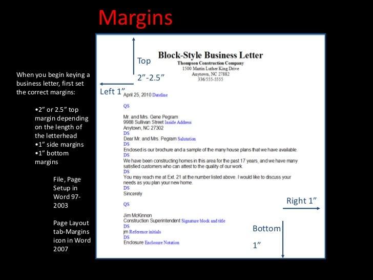 Proper margin in writing a letter