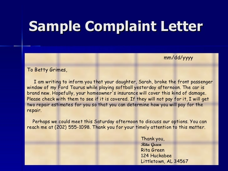 Writing sample complaint letter spiritdancerdesigns Choice Image