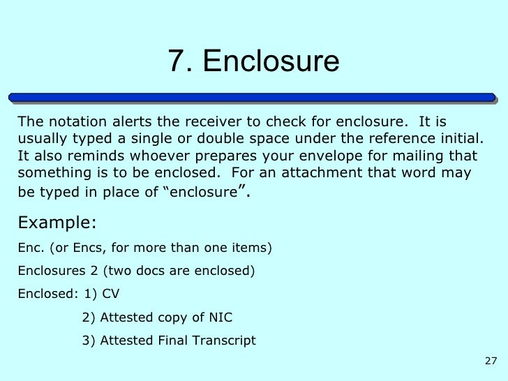 Enclosure Reference Business Letter