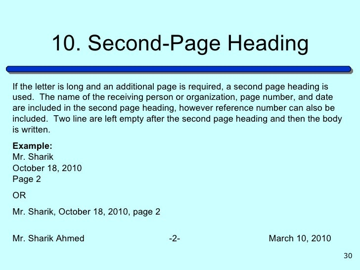 30 10 second page headingif the letter