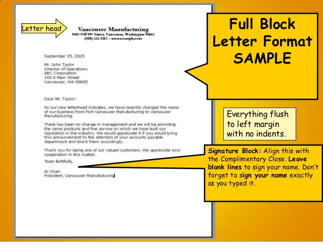Q. What is block format when writing a paper or letter?