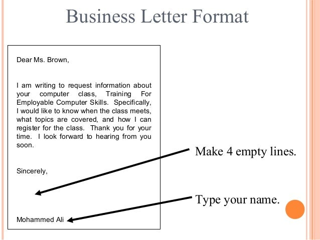 Letter writing communication skills sincerely 18 business letter format dear ms spiritdancerdesigns Images