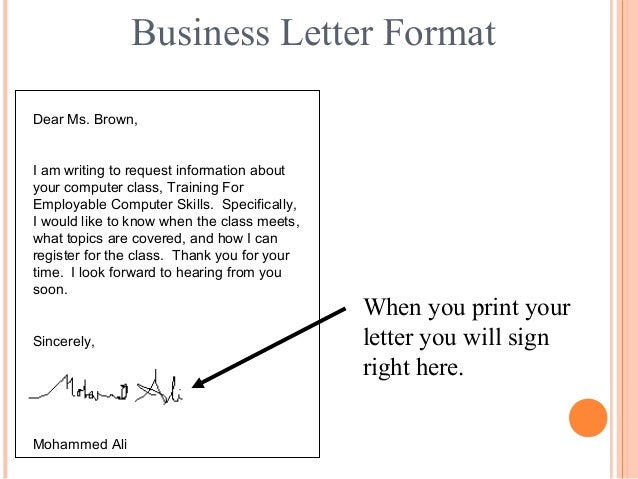 Letter writing communication skills mohammed ali 19 business letter format dear ms brown i am writing to request information spiritdancerdesigns Gallery