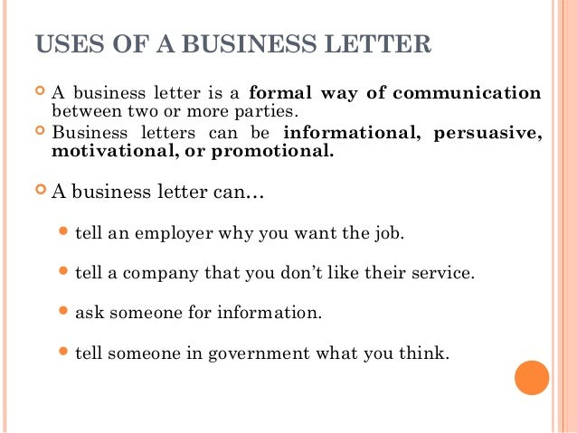 Letter writing communication skills uses of a business letter altavistaventures Choice Image