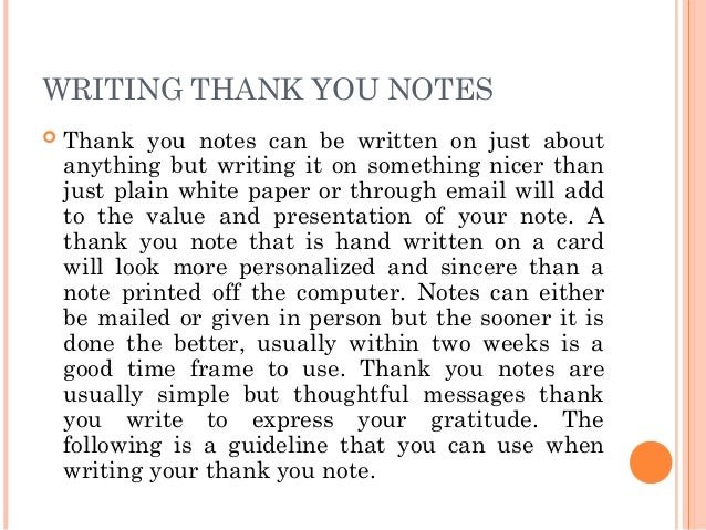 Letter writing Communication Skills – Personal Thank You Letter