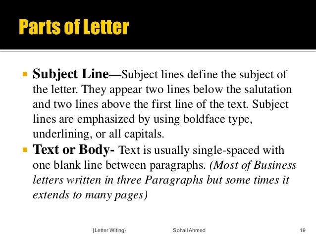 Letter Writing Format Subject Line.  Letter Witing Sohail Ahmed 18 19 Subject Line writing by sohail ahmed