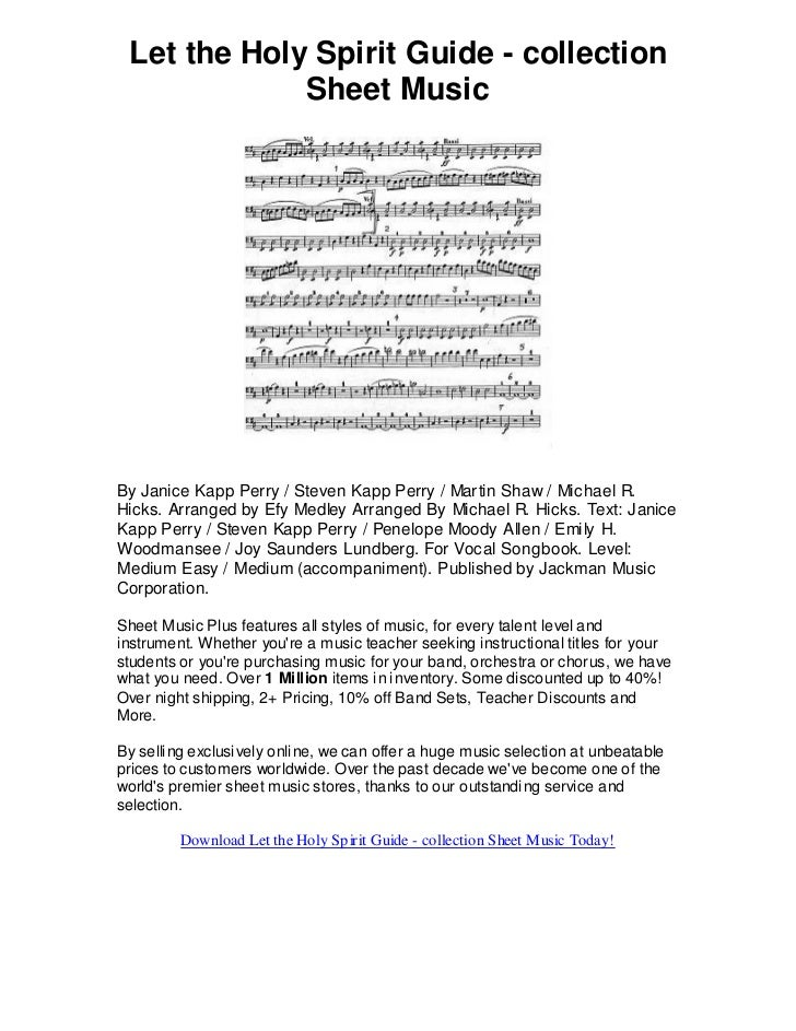Let the holy spirit guide collection sheet music