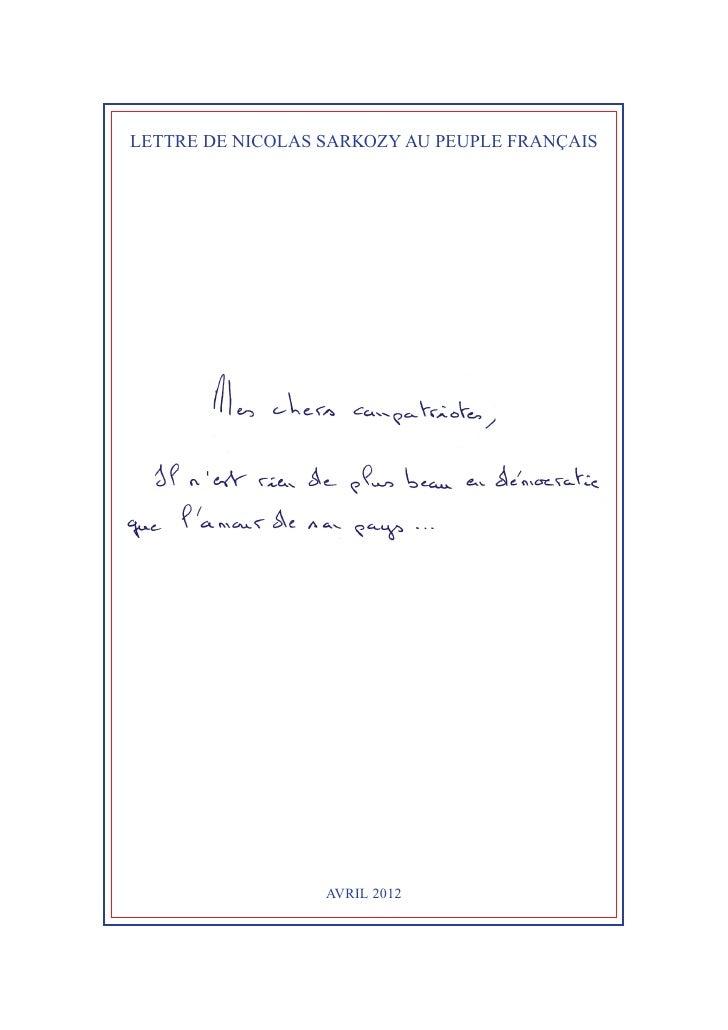 LETTRE DE NICOLAS SARKOZY AU PEUPLE FRANÇAIS                  AVRIL2012