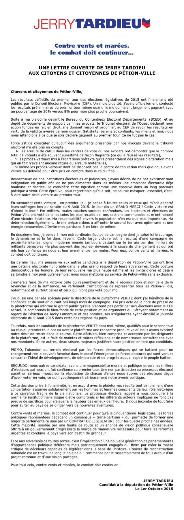 Lettre de Jerry Tardieu aux Citoyens et Citoyennes de Petion Ville