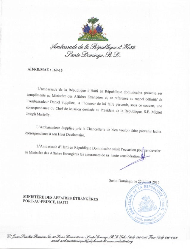 Lettre de l'Ambassadeur Daniel Supplice au Président Martelly