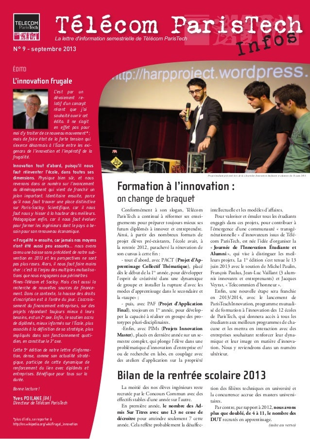 Télécom ParisTech InfosTélécom ParisTech C'est par un dévoiement re- latif d'un concept récent que j'ai souhaité ouvrir ce...