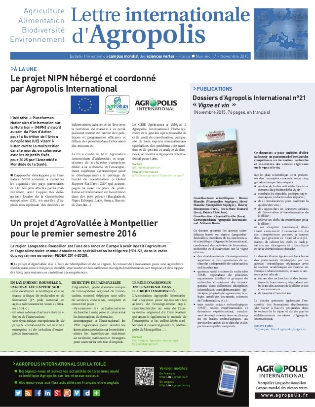d'Agropolis Montpellier Languedoc-Roussillon Campus mondial des sciences vertes Lettre internationale Bulletin trimestriel...
