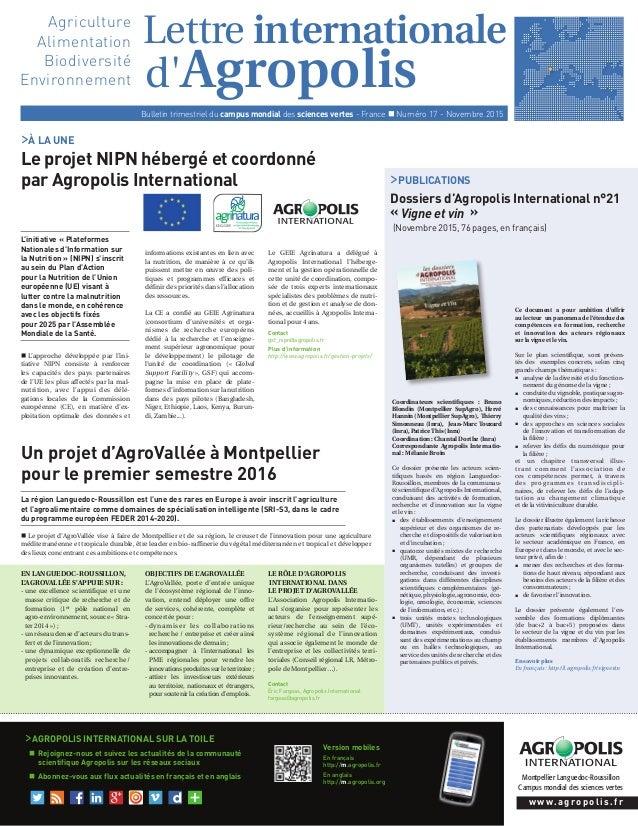 d'Agropolis Montpellier Languedoc-Roussillon Campus mondial des sciences vertes Lettre internationale Bulletin trimestriel...