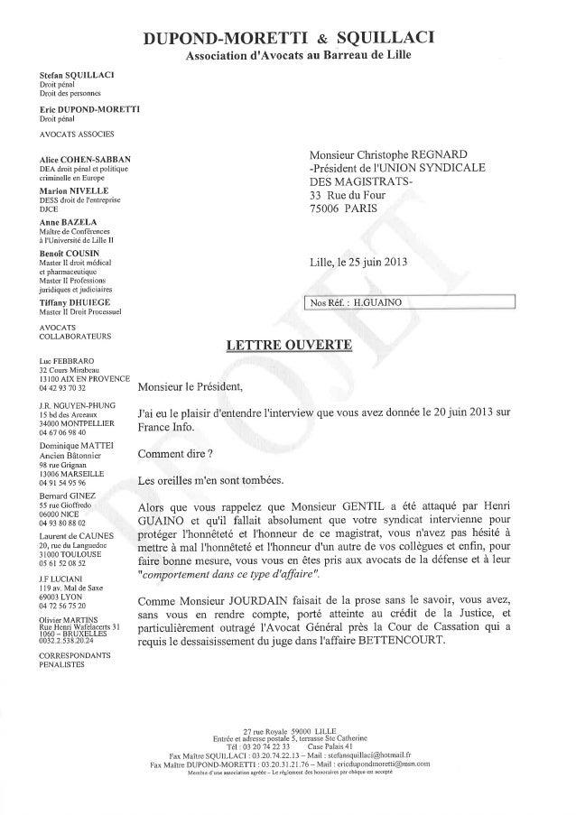 Lettre ouverte de  Maître DUPOND-MORETTI à Monsieur Christophe REGNARD