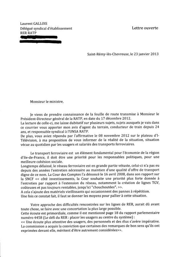 Laurent GALLOISDélégué syndical détablissement                                           Lettre ouverteRER RATP           ...