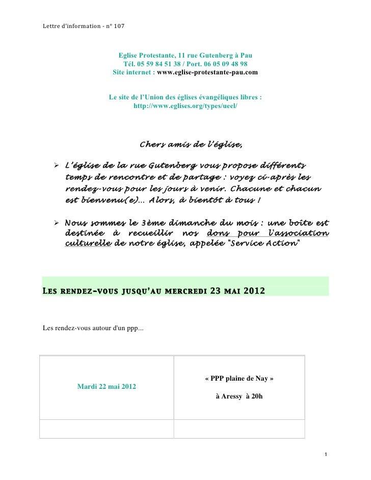 Lettred'information‐n°107                           Eglise Protestante, 11 rue Gutenberg à Pau                       ...