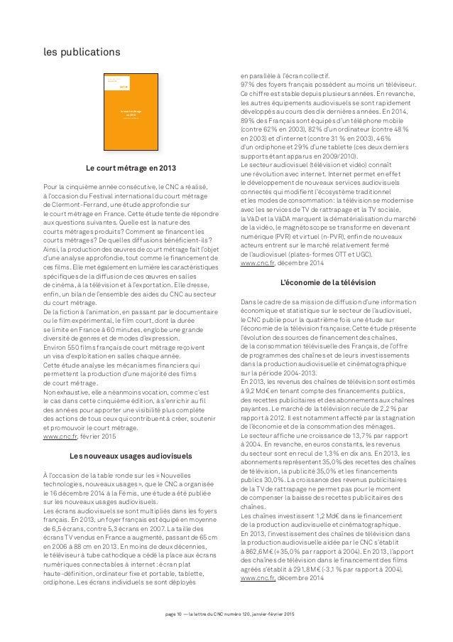 page 10 — la lettre du CNC numéro 120, janvier-février 2015 le court métrage en 2013 production et diffusion les études du...