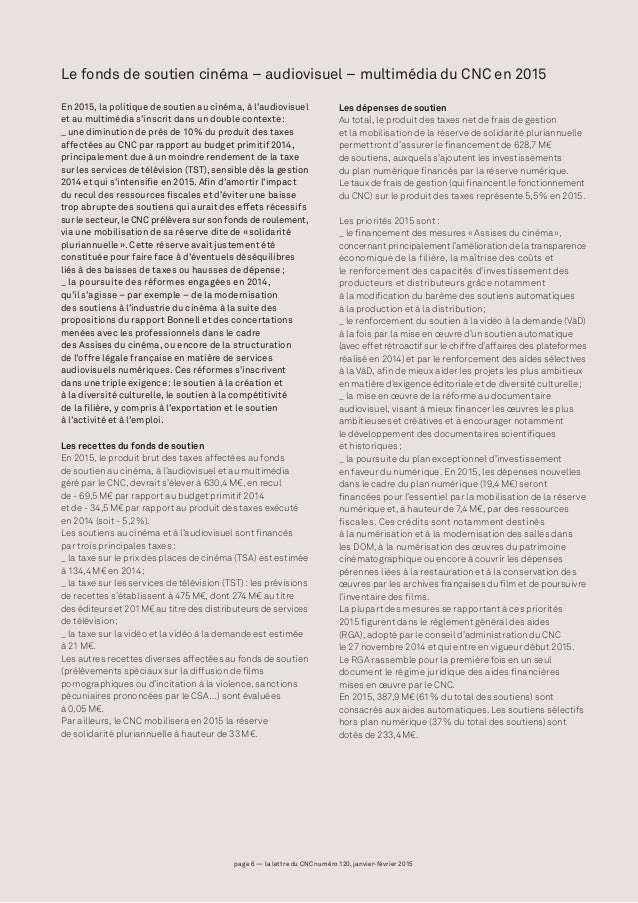 page 6 — la lettre du CNC numéro 120, janvier-février 2015page 6 — la lettre du CNC numéro 120, janvier-février 2015 Le fo...