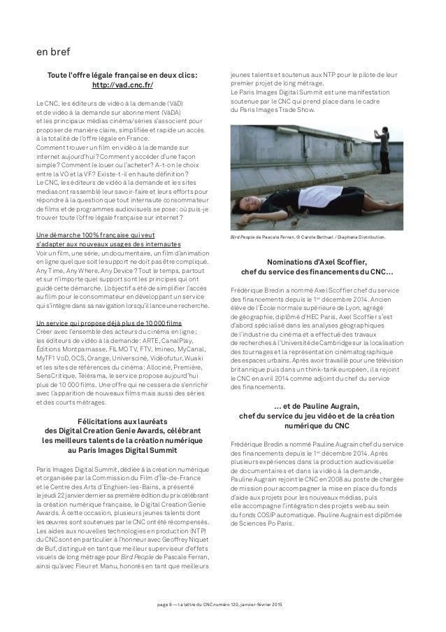 page 9 — la lettre du CNC numéro 120, janvier-février 2015 en bref Toute l'offre légale française en deux clics: http://v...