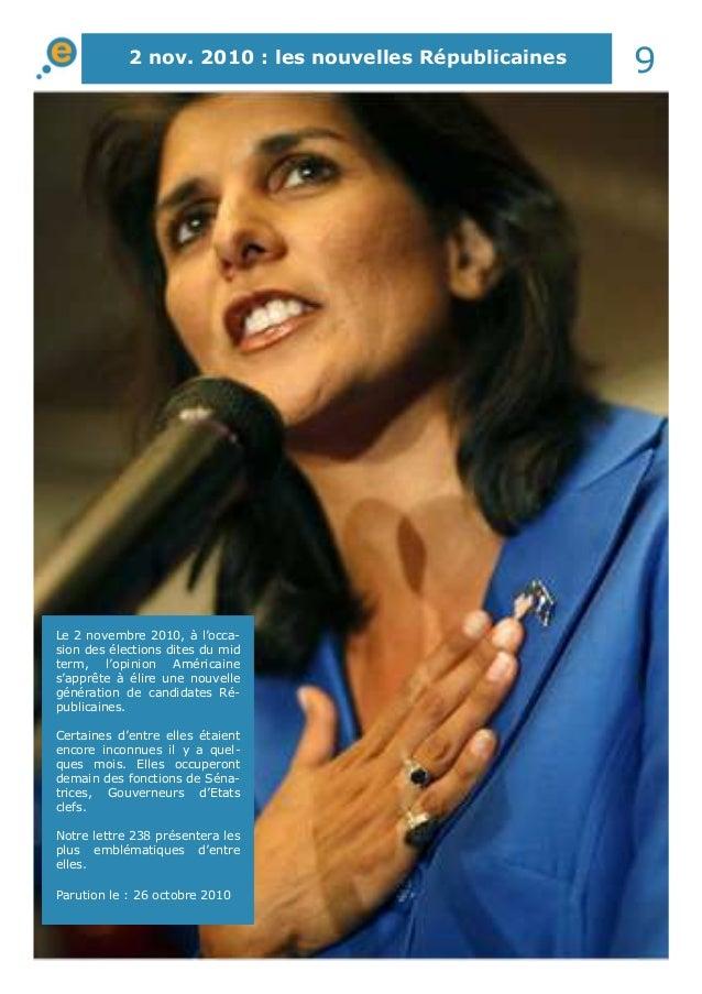 2 nov. 2010 : les nouvelles Républicaines 9  Le 2 novembre 2010, à l'occa-sion  des élections dites du mid  term, l'opinio...