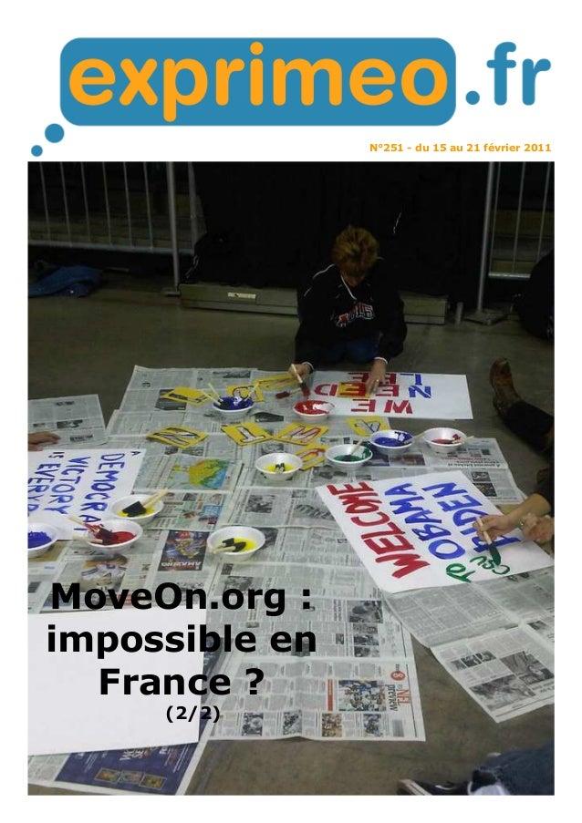 N°251 - du 15 au 21 février 2011 MoveOn.org : impossible en France ? (2/2)