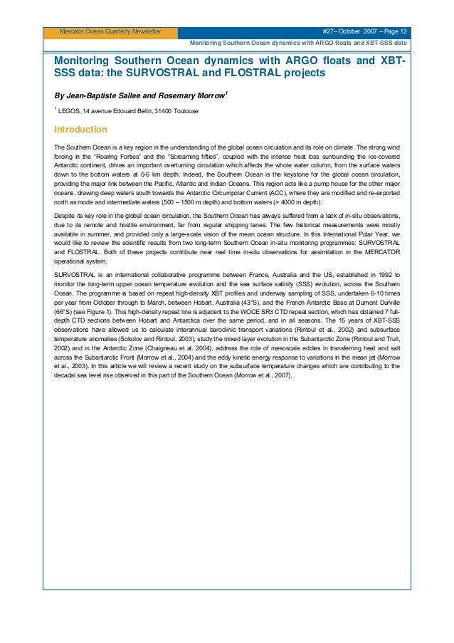 Mercator Ocean Quarterly Newsletter #27– October 2007 – Page 12 Monitoring Southern Ocean dynamics with ARGO floats and XB...
