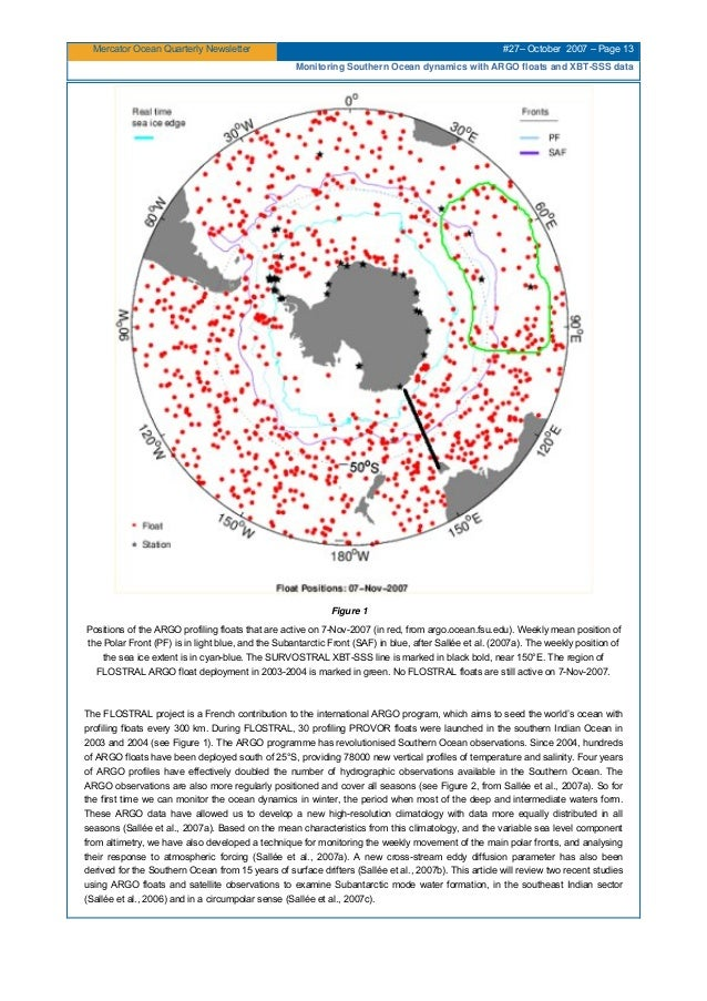Mercator Ocean Quarterly Newsletter #27– October 2007 – Page 13 Monitoring Southern Ocean dynamics with ARGO floats and XB...