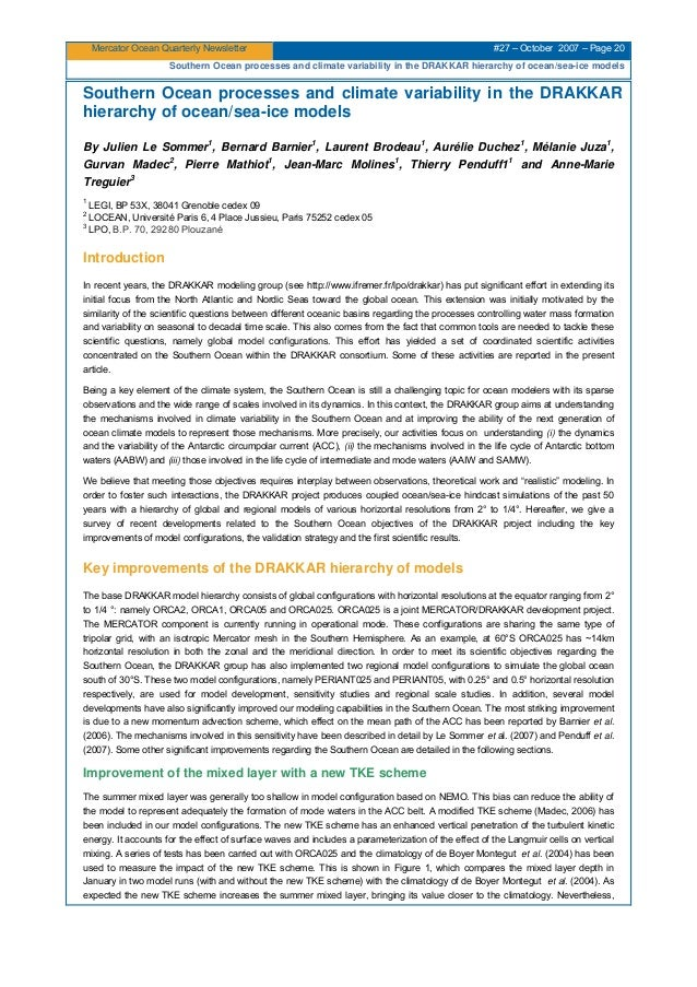 Mercator Ocean Quarterly Newsletter #27 – October 2007 – Page 20 Southern Ocean processes and climate variability in the D...