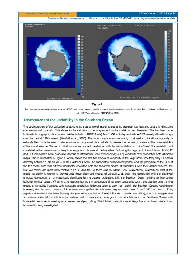 Mercator Ocean Quarterly Newsletter #27 – October 2007 – Page 24 Southern Ocean processes and climate variability in the D...