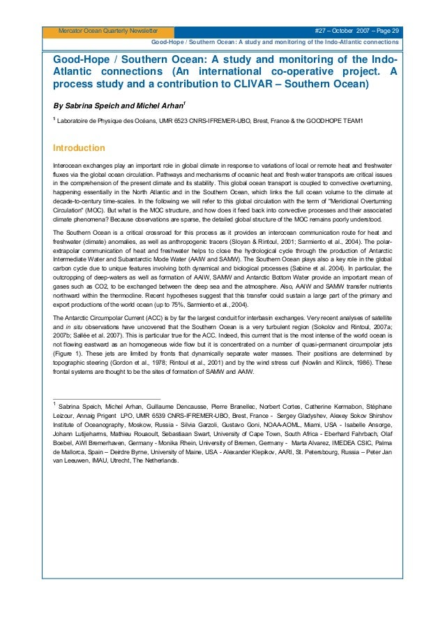 Mercator Ocean Quarterly Newsletter #27 – October 2007 – Page 29 Good-Hope / Southern Ocean: A study and monitoring of the...
