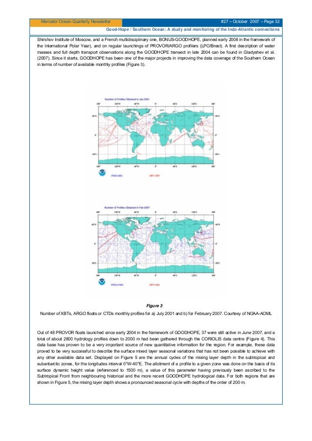Mercator Ocean Quarterly Newsletter #27 – October 2007 – Page 32 Good-Hope / Southern Ocean: A study and monitoring of the...