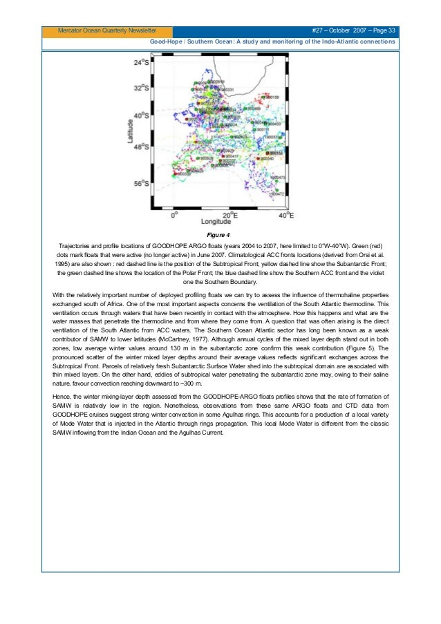 Mercator Ocean Quarterly Newsletter #27 – October 2007 – Page 33 Good-Hope / Southern Ocean: A study and monitoring of the...