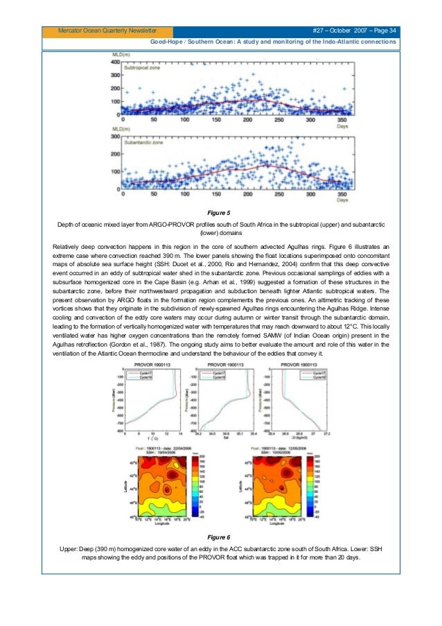 Mercator Ocean Quarterly Newsletter #27 – October 2007 – Page 34 Good-Hope / Southern Ocean: A study and monitoring of the...