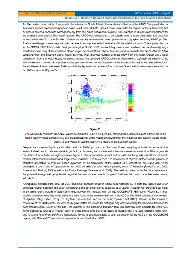 Mercator Ocean Quarterly Newsletter #27 – October 2007 – Page 35 Good-Hope / Southern Ocean: A study and monitoring of the...