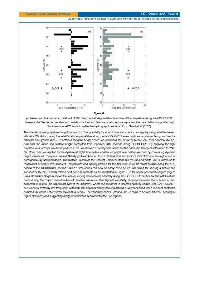Mercator Ocean Quarterly Newsletter #27 – October 2007 – Page 36 Good-Hope / Southern Ocean: A study and monitoring of the...