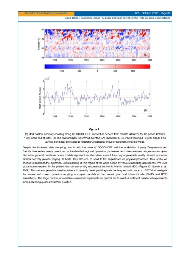 Mercator Ocean Quarterly Newsletter #27 – October 2007 – Page 37 Good-Hope / Southern Ocean: A study and monitoring of the...