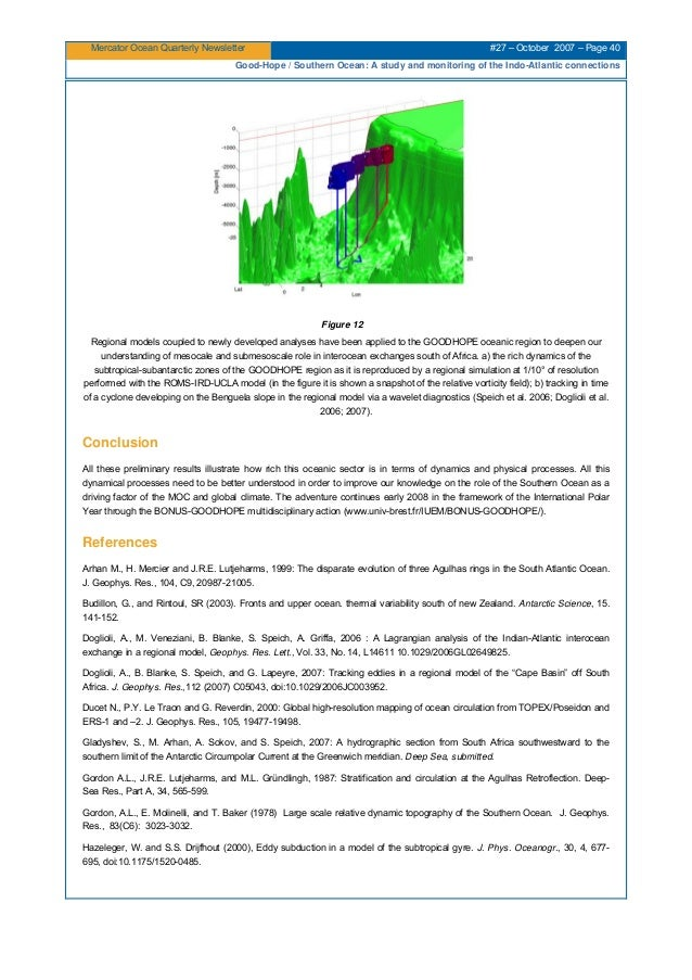 Mercator Ocean Quarterly Newsletter #27 – October 2007 – Page 40 Good-Hope / Southern Ocean: A study and monitoring of the...