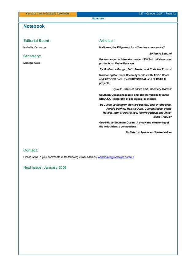 Mercator Ocean newsletter 27