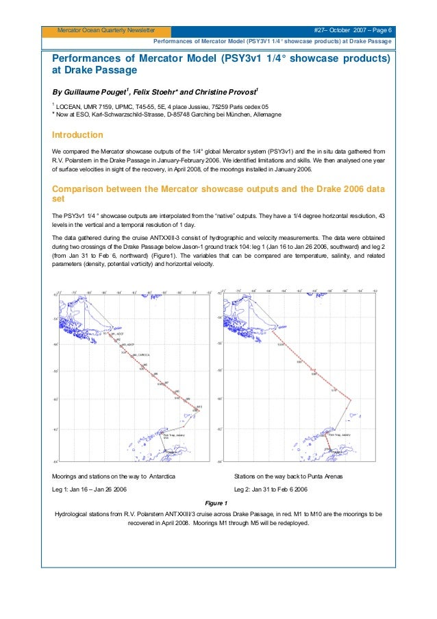 Mercator Ocean Quarterly Newsletter #27– October 2007 – Page 6 Performances of Mercator Model (PSY3V1 1/4° showcase produc...
