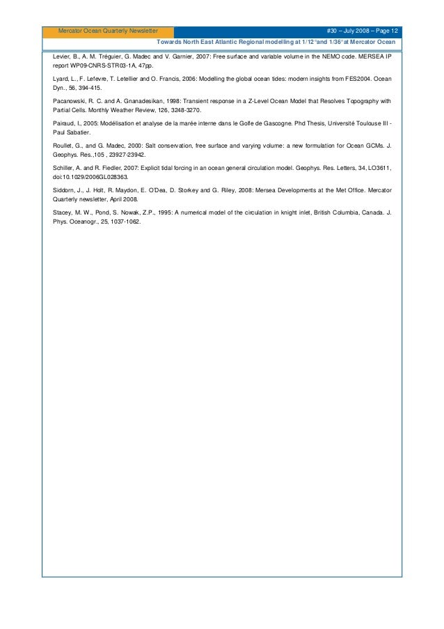Mercator Ocean Quarterly Newsletter #30 – July 2008 – Page 12 Towards North East Atlantic Regional modelling at 1/12°and 1...