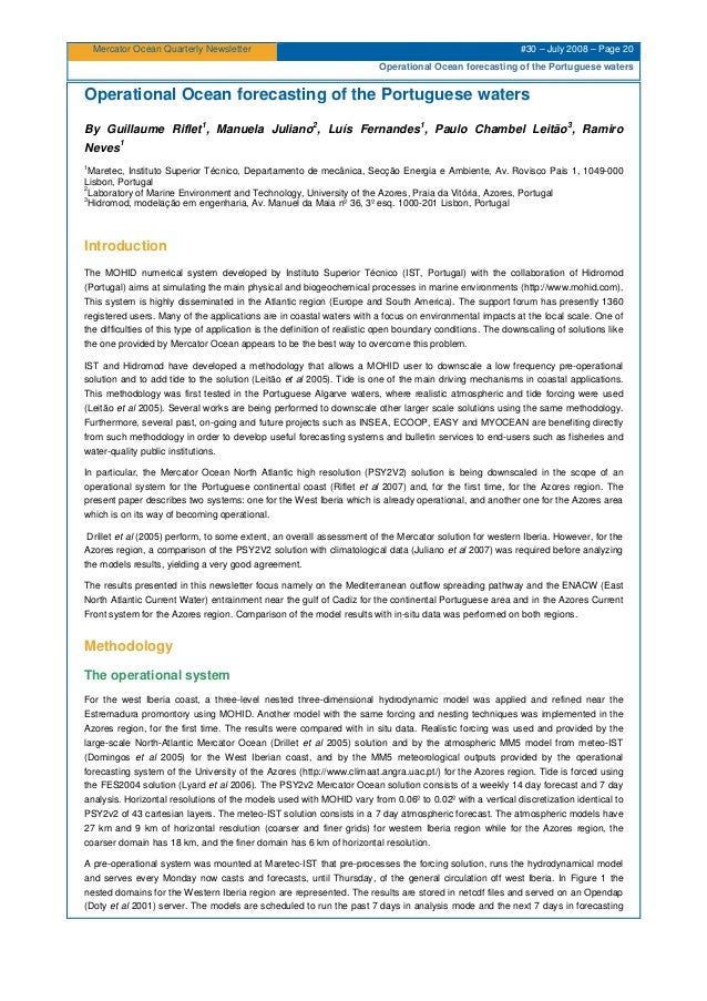 Mercator Ocean Quarterly Newsletter #30 – July 2008 – Page 20 Operational Ocean forecasting of the Portuguese waters Opera...