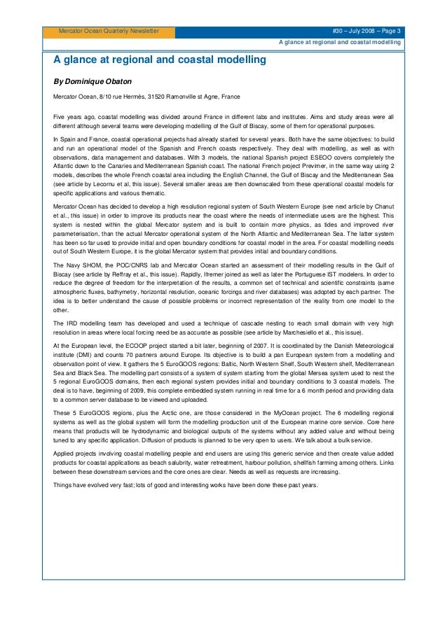 Mercator Ocean Quarterly Newsletter #30 – July 2008 – Page 3 A glance at regional and coastal modelling A glance at region...