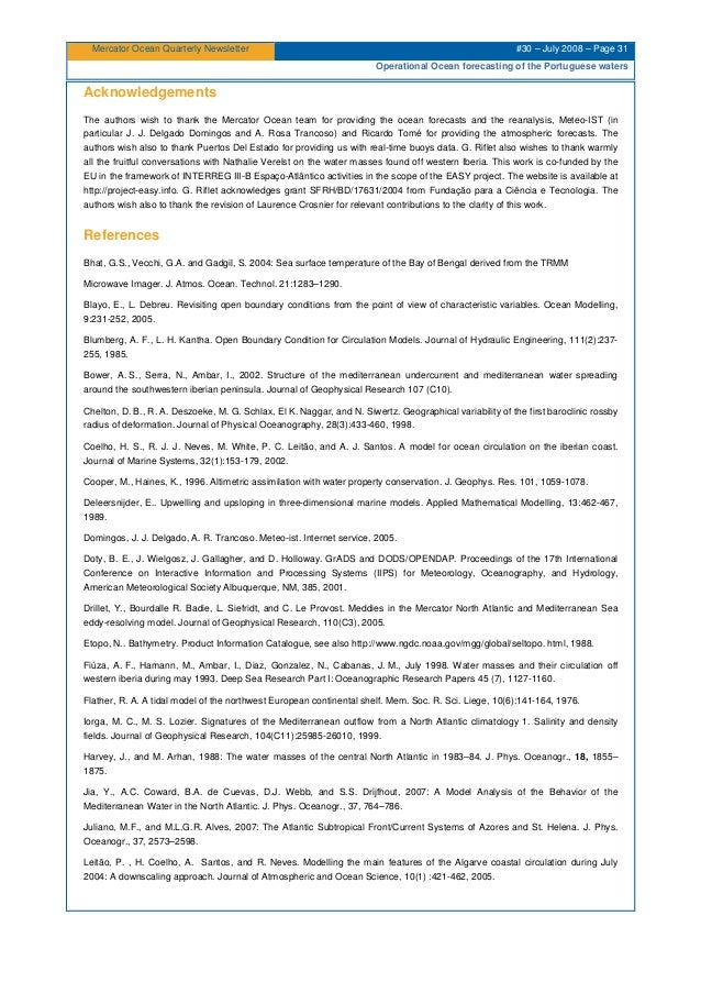 Mercator Ocean Quarterly Newsletter #30 – July 2008 – Page 31 Operational Ocean forecasting of the Portuguese waters Ackno...