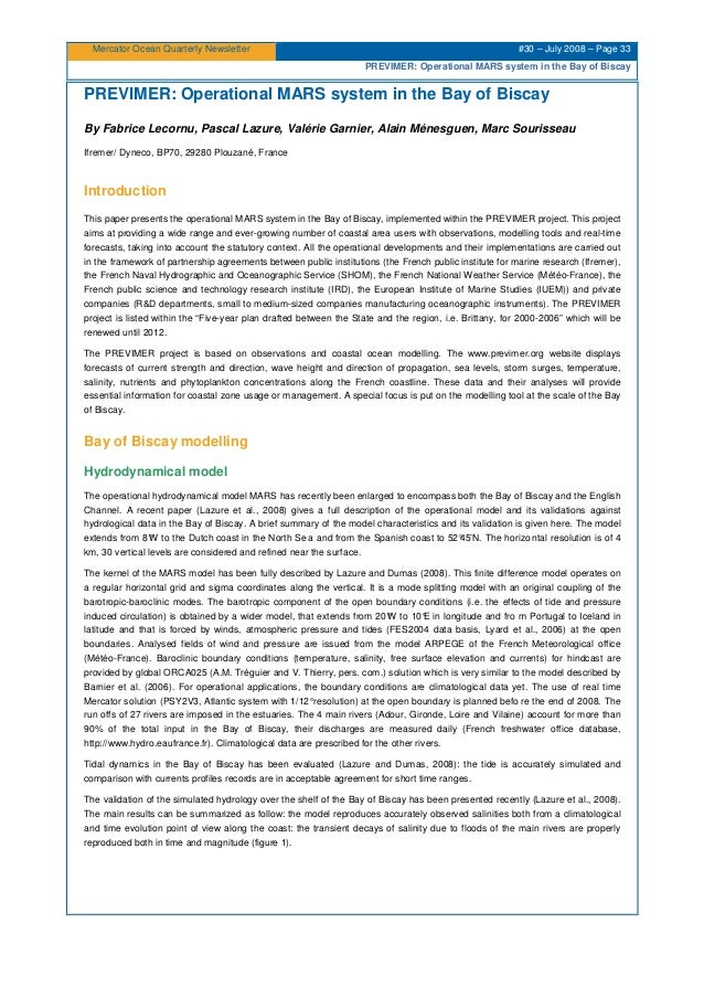 Mercator Ocean Quarterly Newsletter #30 – July 2008 – Page 33 PREVIMER: Operational MARS system in the Bay of Biscay PREVI...