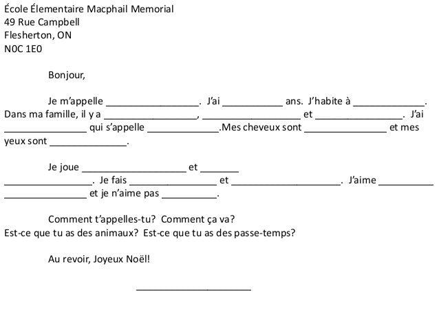 École Élementaire Macphail Memorial  49 Rue Campbell  Flesherton, ON  N0C 1E0  Bonjour,  Je m'appelle _________________. J...