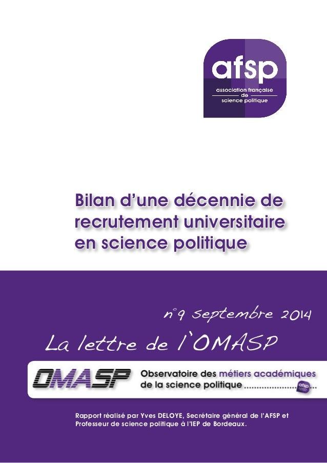 Bilan d'une décennie de  recrutement universitaire  en science politique  n°9 septembre 2014  La lettre de l'OMASP  Rappor...