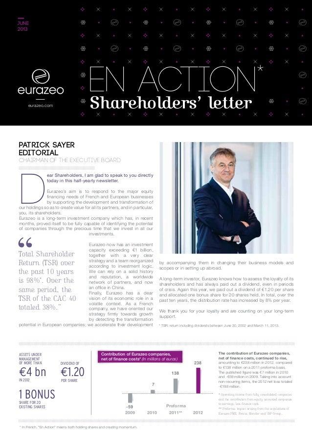 eurazeo.com €1.20per share 1 bonusshare for 20 existing shares €4 bnin 2012 Assets under management of more than Dividend ...