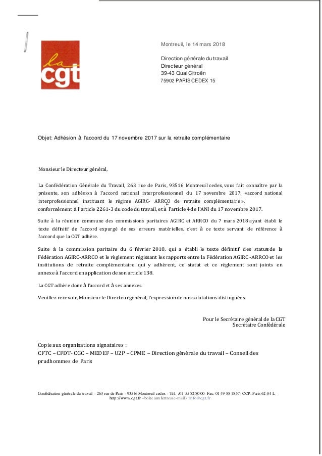 Lettre Adhesion Cgt Accord Retraite Complementaire
