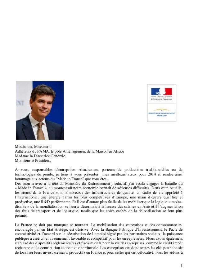 Mesdames, Messieurs, Adhérents du PAMA, le pôle Aménagement de la Maison en Alsace Madame la Directrice Générale, Monsieur...